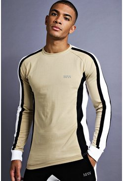 Mens Taupe MAN Muscle Fit Raglan Long Sleeve Panelled T-Shirt