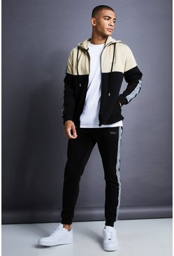 Black MAN Skinny Fit Zip Reflective Detail Tracksuit