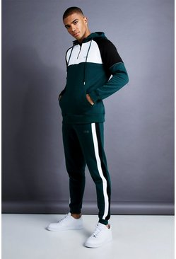 Mens Teal MAN Skinny Fit 1/4 Zip Panelled Tracksuit