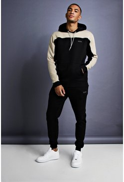 Mens Black MAN Skinny Fit Panelled Tracksuit