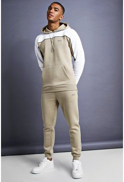 Mens Taupe MAN Skinny Fit Panelled Tracksuit
