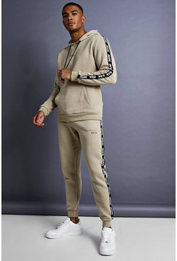Mens Taupe MAN Skinny Fit Taped Tracksuit