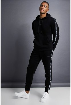 Mens Black MAN Skinny Fit Taped Tracksuit