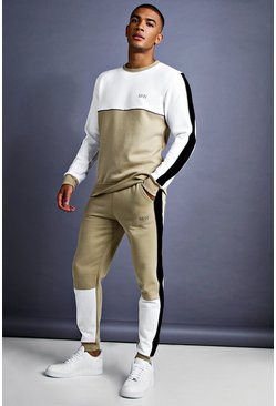 Mens Taupe MAN Skinny Fit Sweater Tracksuit