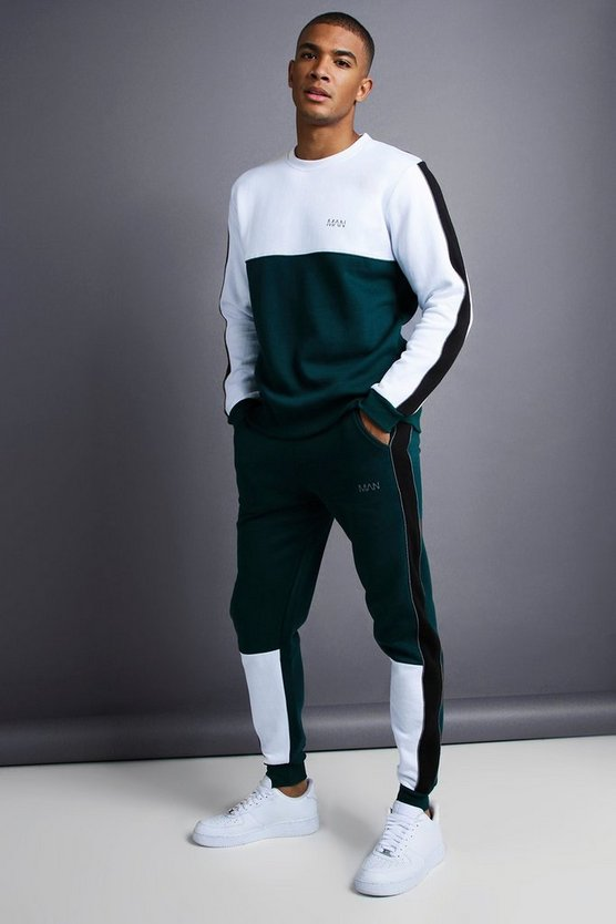 Teal MAN Skinny Fit Sweater Tracksuit
