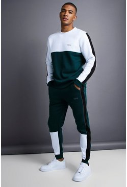 Mens Teal MAN Skinny Fit Sweater Tracksuit