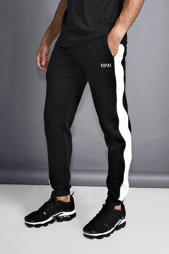 Black MAN Slim Joggers With Reflective Piping