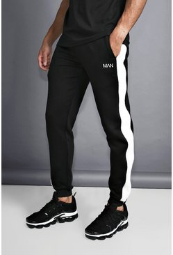 Mens Black MAN Slim Joggers With Reflective Piping
