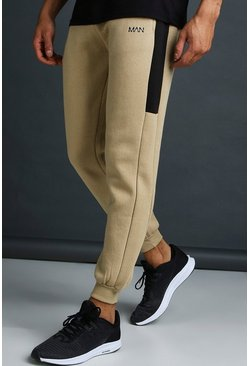 Mens Taupe MAN Skinny Jersey Jogger With Side Panels