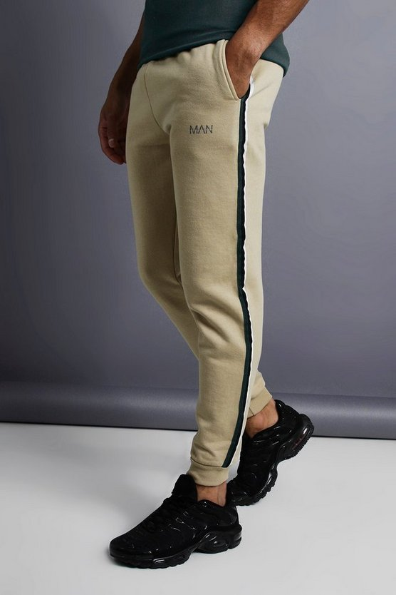 Mens Taupe MAN Skinny Taped Joggers