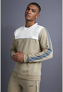Sweat MAN avec empiècements, Taupe, Homme
