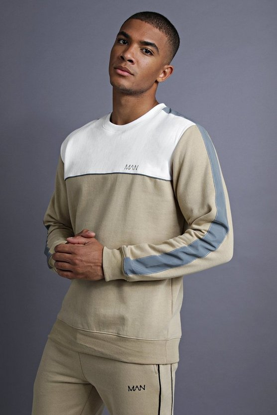 Mens Taupe MAN Sweater With Panelling