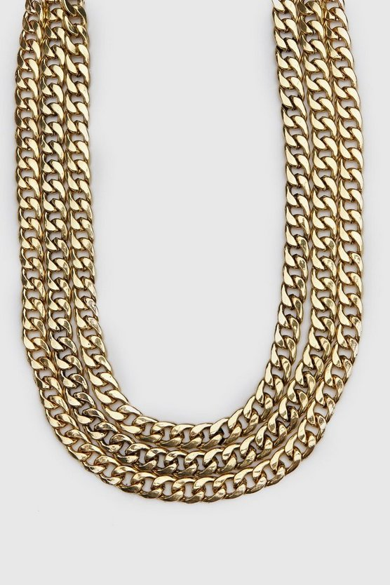 Mens Gold Triple Layer Chain