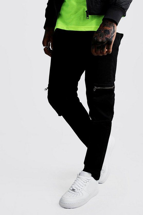 Black Skinny Fit Zip Cargo Trouser