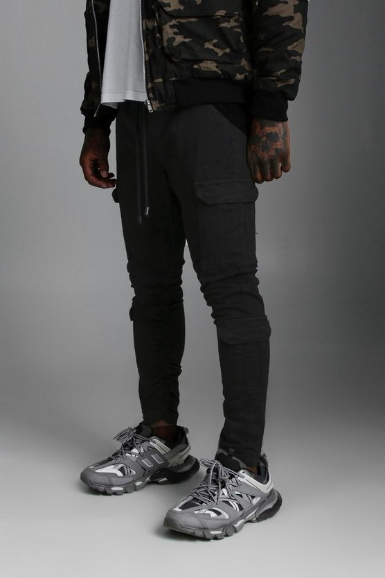 Black Slim Fit Cargo Jogger with Buckle Hem