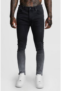 Mens Grey Stretch Skinny Ombre Jeans