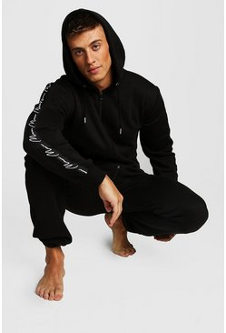 Mens Black MAN Script Tape Onesie