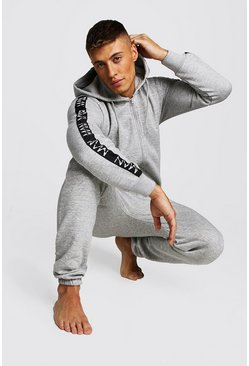 Mens Grey MAN Dash Tape Onesie