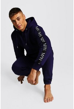 Mens Navy MAN Dash Tape Onesie