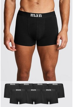 Mens Black 7 Pack Gothic MAN Trunks