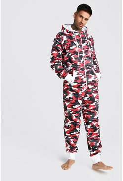 Mens Red Camo Onesie