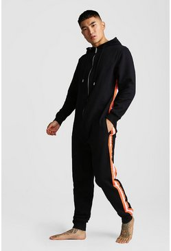 Mens Black Sport Tape Onesie