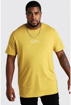 Mens Mustard Big and Tall MAN Dash Longline T-Shirt