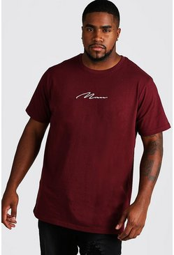 Mens Wine Big and Tall MAN Script Longline T-Shirt