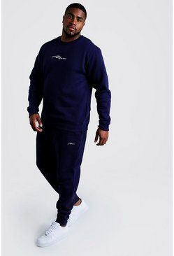 Navy Big and Tall MAN Script Sweater Tracksuit
