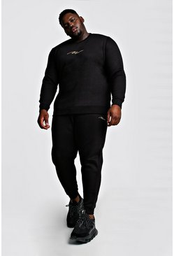 Black Big and Tall MAN Script Sweater Tracksuit