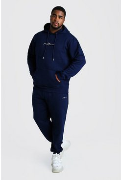 Navy Big and Tall MAN Script Hooded Tracksuit