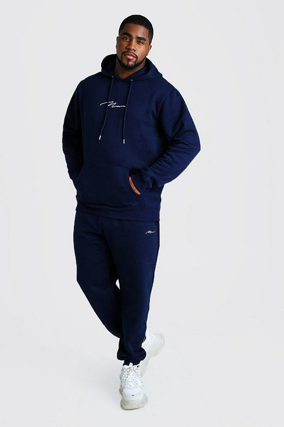 Mens Navy Big and Tall MAN Script Hooded Tracksuit