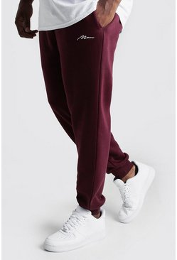 Big And Tall Skinny Fit Jogginghose mit MAN-Stickerei, Weinrot, Herren