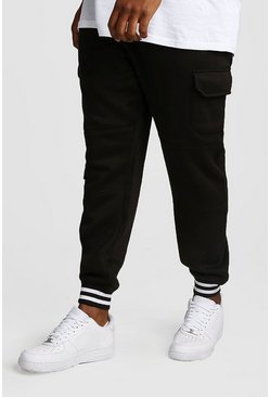 Mens Black Big And Tall Skinny Fit Cargo Joggers