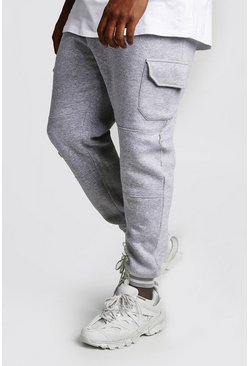 Mens Grey marl Big And Tall Skinny Fit Cargo Joggers
