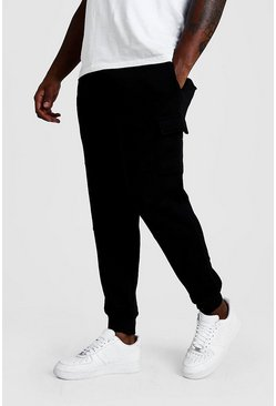 Mens Black Big And Tall Skinny Fit Basic Cargo Joggers