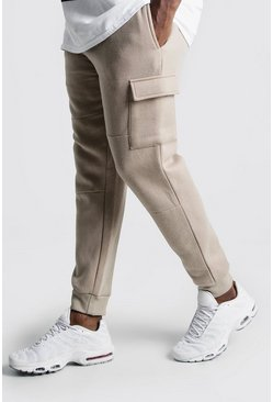 Mens Taupe Big And Tall Skinny Fit Basic Cargo Joggers