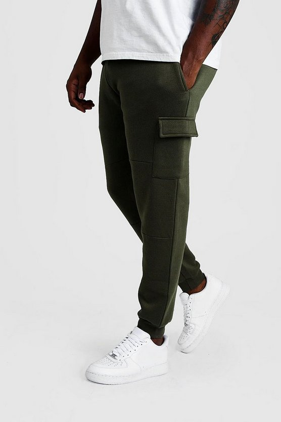 Mens Khaki Big And Tall Skinny Fit Basic Cargo Joggers