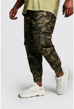 Mens Big And Tall Skinny Fit Camo Cargo Woven Joggers