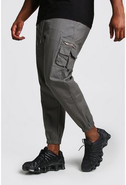 Big And Tall Skinny Fit Cargo-Jogginghose aus Webstoff, Schiefergrau, Herren