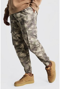Mens Taupe Big & Tall Skinny Fit Camo Woven Cargo Jogger