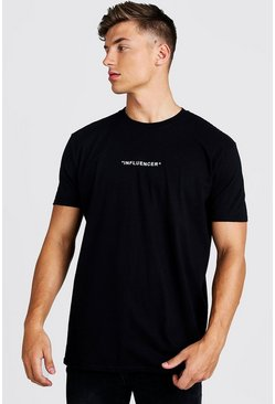 Mens Black Loose Fit Influencer Slogan T-Shirt