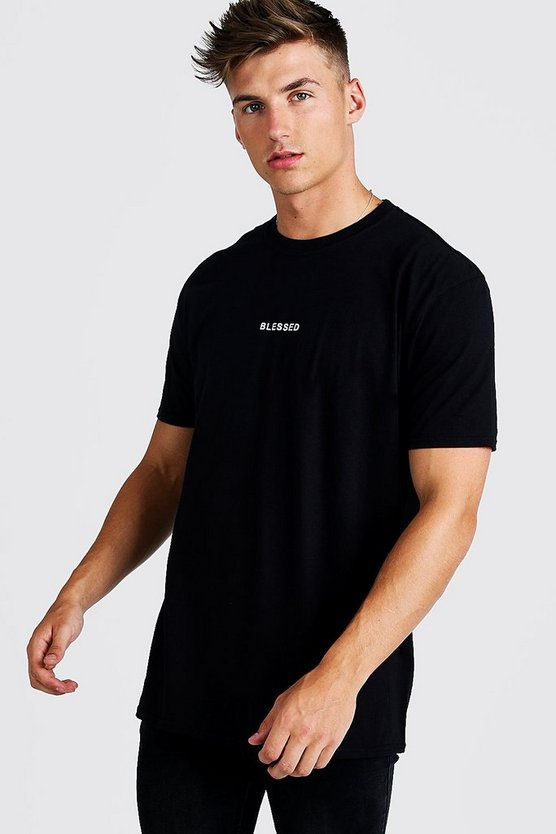 Mens Black Loose Fit Blessed Slogan T-Shirt