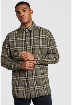 Mens Yellow Oversized Check Brushed Overshirt