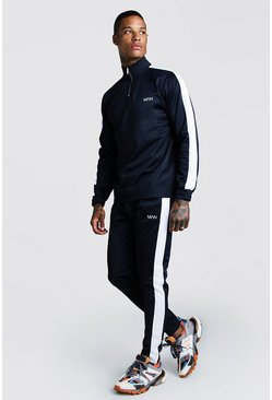 Mens Navy Half-zip Funnel Neck Contrast Panel MAN Tracksuit