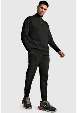 Mens Black Scuba Half Zip Smart Tracksuit
