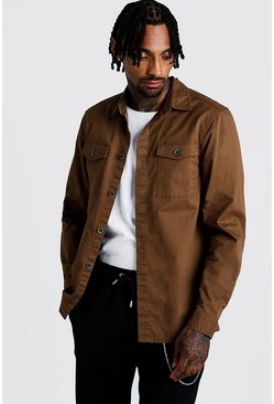 Mens Brown Washed Twill Utility Overshirt