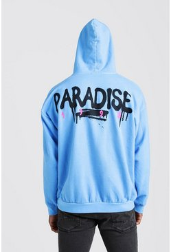 Mens Blue Oversized Paradse Back Print Hoodie