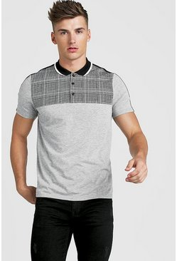 Mens Grey Check Taped Polo Shirt