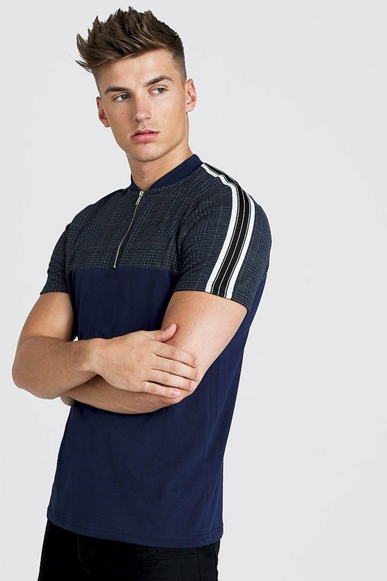 Navy Check Taped Zip Polo Shirt